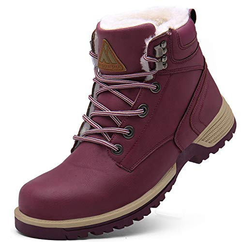 Mishansha Wasserfest Winter Schuhe Damen Schnürstiefel Warmes Fell Gefüttert Stiefeletten Rutschsicher Freizeitstiefel Draussen Schnee Stiefel 2019 Erwachsene Gemütlich Boots, Trek Rot 41