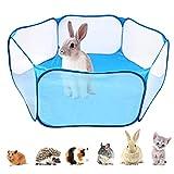 Tienda de Jaula para Animales Pequeños, Parque de Animales Pequeños, Carpa para Mascotas Transpirable para Hámsteres, Conejillos de Indias, Erizos, Conejos, Gatos, Perros (Azul)