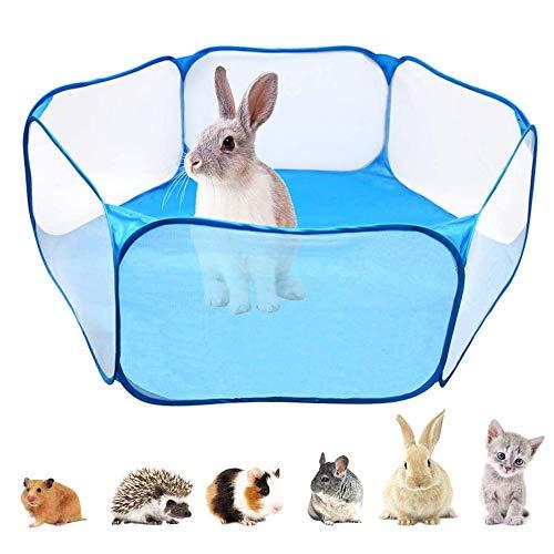 afdg Laufstall für Kleintiere, Indoor Pop Up Übungszaun, Atmungsaktives Haustierzelt, Pet Play Tentfür Hamster, Meerschweinchen, Lgel, Kaninchen, Katzen, Hunde (Blau)