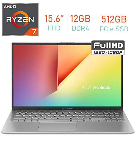 "ASUS VivoBook 15.6"" FHD (1920 x1080) Display Laptop PC, AMD Ryzen 7 3700U Processor, 12GB DDR4, 512GB PCIe SSD, Bluetooth, Webcam, HDMI, WiFi, AMD Radeon RX Vega 10 Graphics, Windows 10 Home"