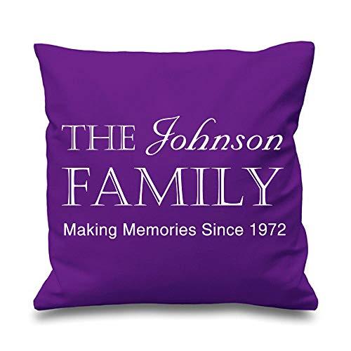 Famille personnalisé Housse de coussin Violet 40,6 x 40,6 cm New Home Mariage Maman Cadeau Coussin décoratif Maison