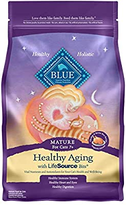 Blue Buffalo Healthy Aging Natural Mature Dry Cat Food, Chicken & Brown Rice 3-lb