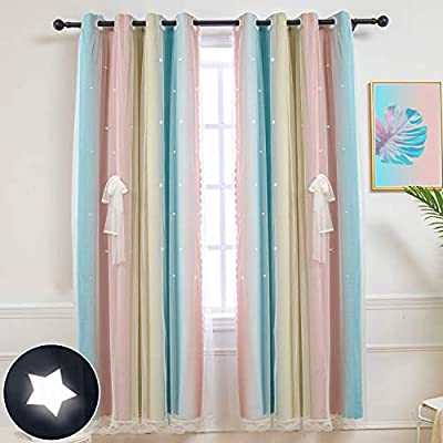 Hughapy Star Curtains Stars Blackout Curtains for Kids Girls Bedroom Living Room Colorful Double Layer Star Cut Out Stripe Window Curtains, 1 Panel -(52W x 84L, Pink/Blue)