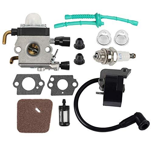 Hippotech C1Q-S97 C1Q-S186 Carburador y Bobina de Encendido para Stihl FS38 FS45 FS45C FS46 FS46C FS55 FS55RC FS55C Trimmer Weed Eater
