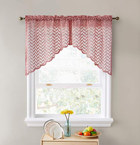 """HLC.ME Herringbone Semi Sheer Voile Kitchen Cafe Curtain Panels - Rod Pocket - Tiers, Swags & Valances Small Windows & Bathroom - 30"""" Wide x 36"""" Inch Length (Blush Pink Swags, Set of 2)"""