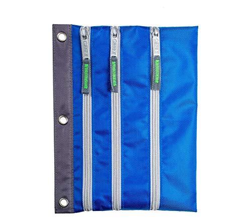 Case-it 3-Zipper Pencil Case - Blue