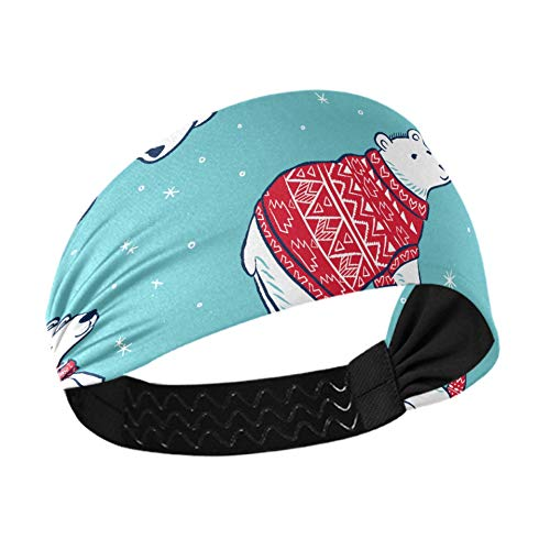 Thick Headbands Christmas Vector Seamless Polar Bears Spa Headband With Non-slip Elastic Webbing For Running Fitness Basketball Dancing Fits All Men And Women