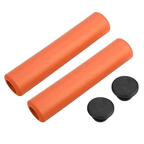 Puños de manillar de bicicleta, 1 par de puños de manillar de bicicleta Agarre de silicona antideslizante a prueba de golpes con tapones de extremo para bicicleta MTB, scooter de acrobacias(naranja)