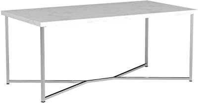 Walker Edison Mid Century Modern Gold Rectangle Coffee Table, Marble/Chrome