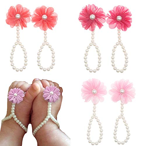 Bloomposh Newborn Baby Barefoot Sandals Infant Girls Summer Shoes,Pink,Hot Pink,Coral,0-12months,3pairs/lot
