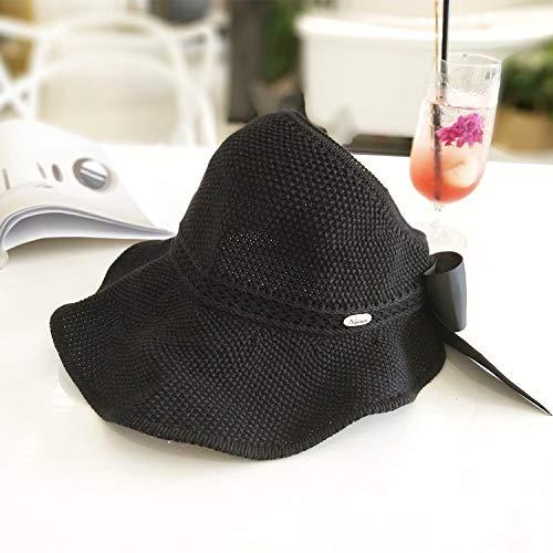 Sombreros de sol para mujer con lazo y visera hecha a mano de rafia de paja, sombrero de verano informal, sombrero de playa para mujer (color: negro)