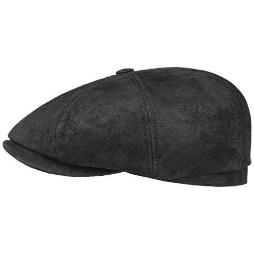 Stetson Hatteras Pigskin Flatcap Herren - Schirmmütze aus Leder - Schiebermütze mit Innenfutter - Mütze - Herrencap Sommer/Winter - Ballonmütze schwarz S (54-55 cm)