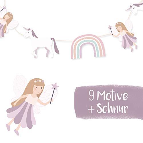 mintkind® Einhorn Girlande für Mädchen – Kindergeburtstag Deko Feen | Geburtstagsdeko für Kinder Party | Kinderzimmer Deko für Mädchen | 9 Motive + 1 Schnur im Set zum Auffädeln