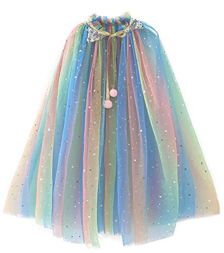 Girl Cape Cloak Dresses Coat Matching Princess Wedding Birthday Party Halloween Star Sequins Summer Cape Cloaks Costumes for Girls Kids Dress Up 2 3 4 Years Veil Yarn Rainbow (D49Multicolored, S)