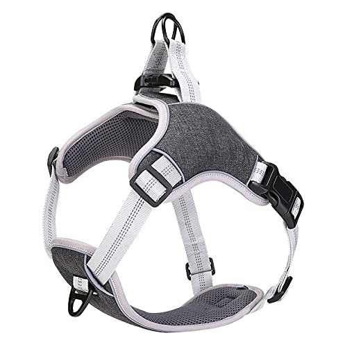 Podazz Arnés para perro sin tirar, para cinturones de seguridad de perro grandes, medianos y pequeños, arnés de chaleco reflectante con clip frontal(negro, L)