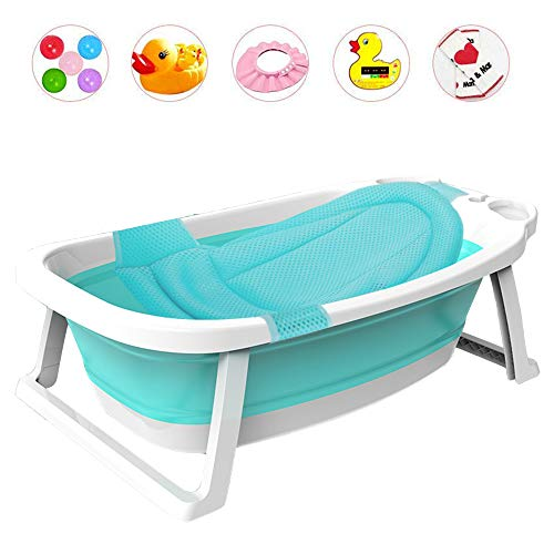XNEQ opvouwbare badkuip, antislip, draagbaar opvouwbaar babybadje, inklapbare douchecabine, opvouwbaar babybadje, blauw