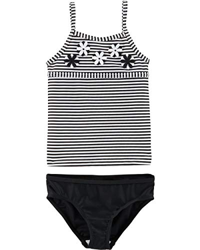 Carter's Girls' Toddler Two-Piece Swimsuit, Black Stripe, 3T