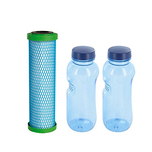 Wasserfilter-Zentrum Filterpatrone EM Premium 5 Carbonit & 2X Tritan Trinkflasche 0,5 l BPA frei