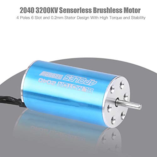 Dilwe 4 Pole Sensorless Brushless Motor, 2040 3200KV RC Modell Motor Geeignet für 1/20, 1/22, 1/24 Modellauto