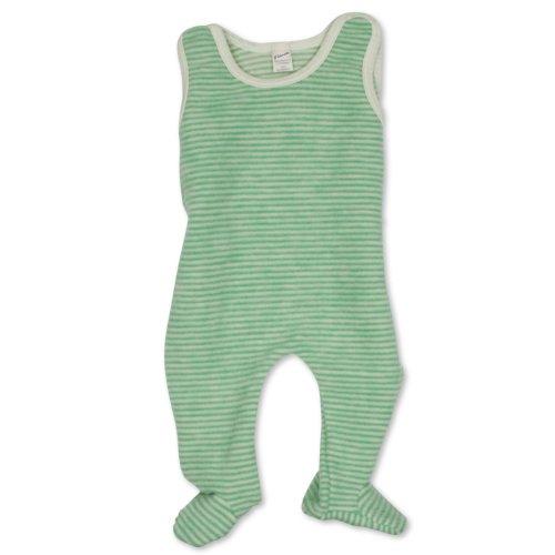 Lilano Lilano Baby Strampler mit Fuß, Größe 68, Farbe Grün/Natur, Wollfrottee-Plüsch 100% kbT