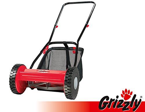 Grizzly Hand Rasenmäher Spindelmäher Handbetrieb HRM 300-3, 30 cm Schnittbreite, stufenlose Höhenverstellung, wartungsfreie Messerwalze, umweltschonend, geräuscharm, inkl. 18 Liter Fangsack