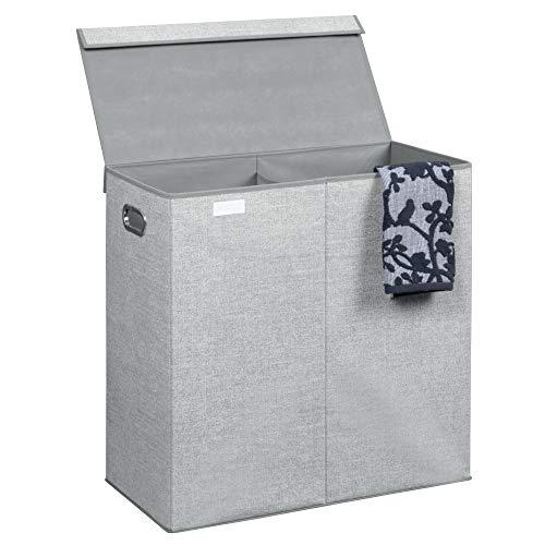 InterDesign Aldo Cesta de lavandería con tapa, bolsa de ropa sucia de polipropileno con 2 compartimentos y con aspecto de fibra natural, gris