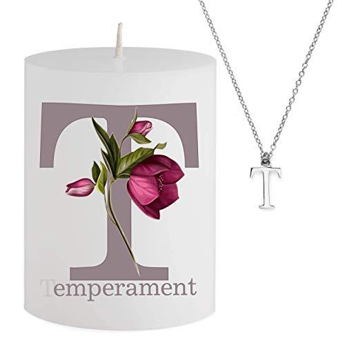 Spell Schmuck - Vela con Mensaje - T emperament- Collar Plateado Escondido con Letra T - Vela aromática de Cerezo