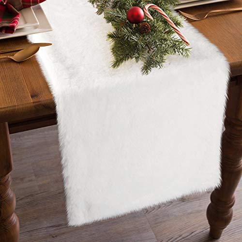 yuboo White Table Runner, 15 x 72 Faux Fur Fabric for Christmas, Holiday, Party Decoration, Bed/Cabinet/Dinning Table/Shelf Decorations