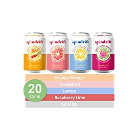 Spindrift Sparkling Water, Blackberry Flavored, Made with Real Squeezed Fruit, 12 Fl Oz Cans, Pack of 24 (Only 13… 7 Pack includes 20 sparkling water cans (12 fluid ounces per can): lemon (5 cans), grapefruit (5 cans), raspberry Lime (5 cans), and orange Mango (5 cans) Spindrift is more refreshing and flavorful than water from a sparkling water maker Unsweetened, no added sugar, Gluten-free, non-GMO, Kosher, never from concentrate