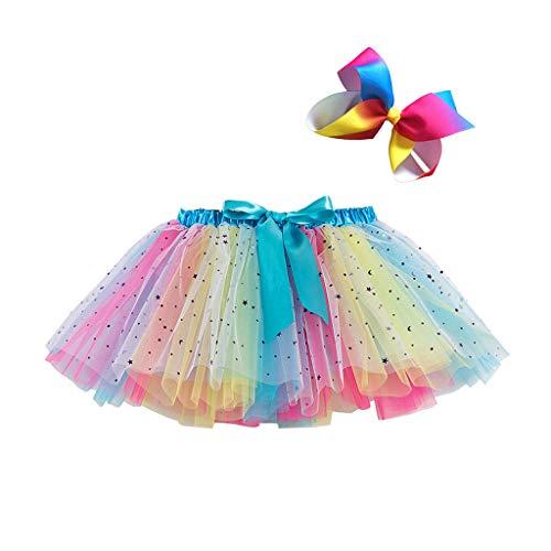 パーティー レディース コスプレ衣装 チュチュスカート キッズ 2点セット Rainbow カラフル 子供 TUTU チュールスカート パニエ 可愛い ダンスドレス ダンス衣装 文化祭/結婚式/卒園式/二次会 (S/ブルー)
