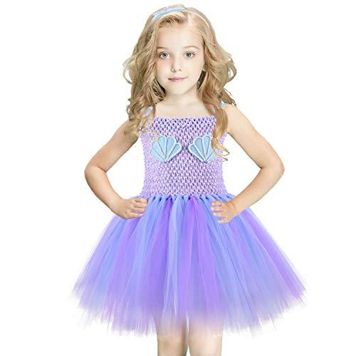 NSSONBEN Meerjungfrau Tütü Kleid Mädchen Ballett Lila Kinder Mermaid Baby Prinzessin mit Stirnband für Geburtstagsfeier, Cosplay, Hochzeit(3-4T)