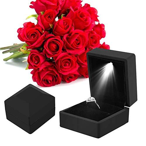 Caja de regalo para anillo con luz LED, caja de regalo para boda, compromiso, color negro
