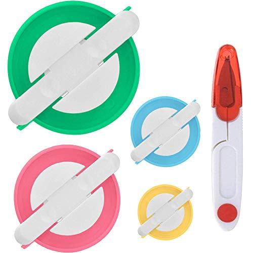 PANYTOW - Juego de 4 tamaños de máquina para hacer pompones para hacer pompones con una tijeras de corte de hilo