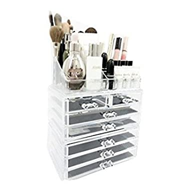 Unique Home Acrylic Jewelry & Cosmetic Storage Makeup Organizer (Large, Clear)