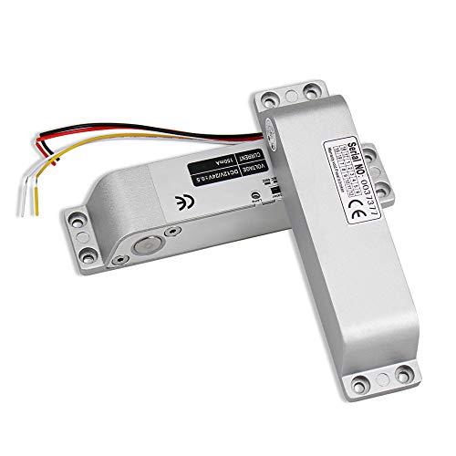 HFeng Falla segura DC12V cerradura de la puerta de mortaja de cerrojo eléctrico Cerradura de cerrojo electrónico con retardo de tiempo Normalmente cerró para sistema de seguridad de control de acceso