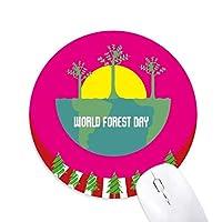 森林環境記念 円形滑りゴムのマウスパッドクリスマス飾り