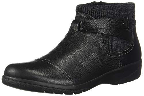 Clarks Women's Cheyn Kisha Ankle Boot, Black Tumbled Leather/Textile, 9.5