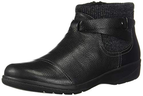 Clarks Women's Cheyn Kisha Ankle Boot, Black Tumbled Leather/Textile, 70 M US