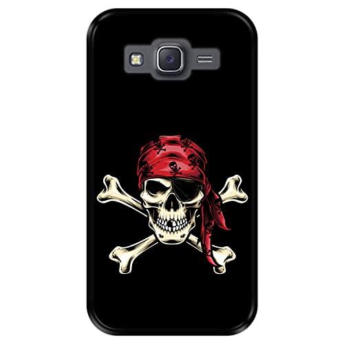 Hapdey Funda Negra para [ Samsung Galaxy J5 2015 ] diseño [ Calavera Pirata ] Carcasa Silicona Flexible TPU