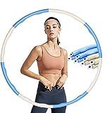 COTOP Hula Hoop, Hula Hoop Profesional Desmontable para Adultos con Cuerda para Saltar para Perder Peso Hula Hoop Ancho Ajustable 8 Secciones Diseño Desmontable (Azul Blanco)