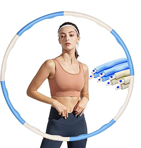 Hula Hoop Fitness Adulti, Hula Hoop Rimovibile Adulti Professionale con Corda per Saltare Hula Hoop per Perdita di Peso Larghezza Regolabile a 8 Sezioni Design Staccabile.(Blu)