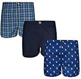 U.S. Polo Assn. Men's Woven Boxer Underwear with Functional Fly (3 Pack), Blue Horse/Navy/Blue Plaid, X-Large'