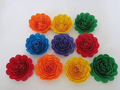 Bright Colorful Paper Flowers 3 Inch Rainbow Roses LGBT Wedding Table Centerpiece Decorations Set of 10
