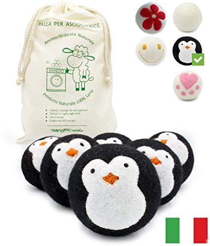 MGKolbe® Trocknerbälle für Wäschetrockner - 6 XXL Extragroße Filzbälle aus Schafwolle, der natürliche Weichspüler. Ideal für Daunenjacken. Dryer Balls Trocknerkugeln für Daunen (schwarze Pinguinkugel)