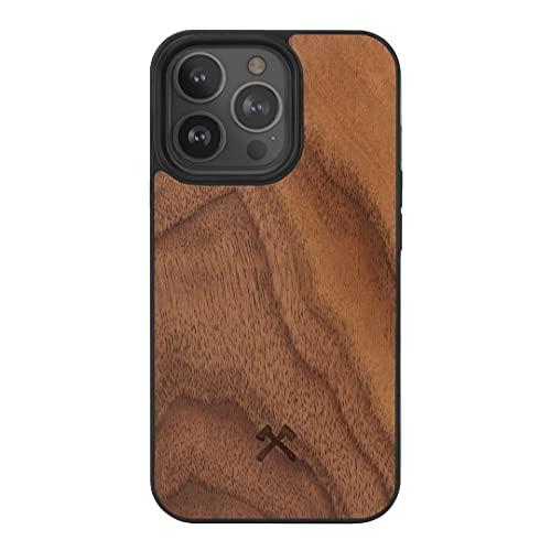 Woodcessories - Bumper Hülle kompatibel mit iPhone 13 Pro Hülle Holz Walnuss
