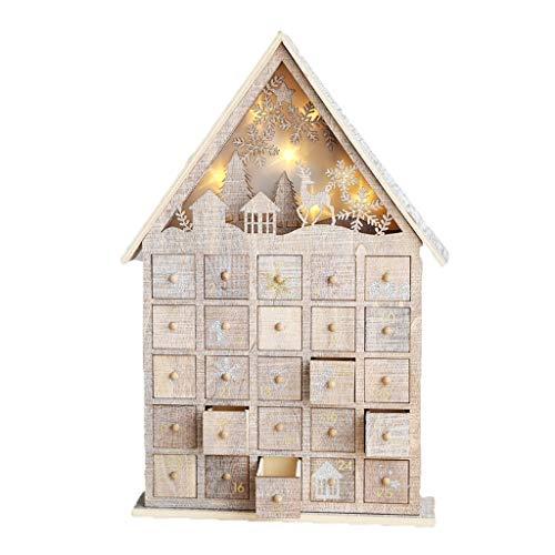 Weihnachtskalender Adventskalender Countdown bis Weihnachten Box Drawer Haus Lotterie Candy House Light Box Dekoration kreativen Luminous LED Christmas Countdown Adventskalender DEK