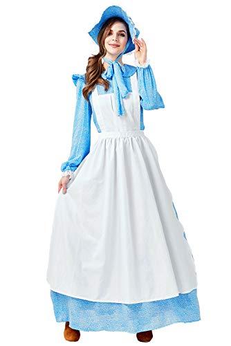 Huiyemy Damen Pionier Colonial Bauer Kostüm, Viktorianische Maid Kostüm Bauer Dienstmagd büchertag Kostüm Prairie Kleid mit Schürze und Mütze XL