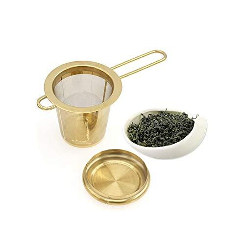 Filtro de té de acero inoxidable plegable con tapa filtro de té filtro de té infusores