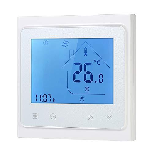 Weehey Termostato de calefacción de Caldera de Gas de Contacto seco con Pantalla táctil Pantalla LCD Programador de Temperatura de Ahorro de energía programable semanalmente