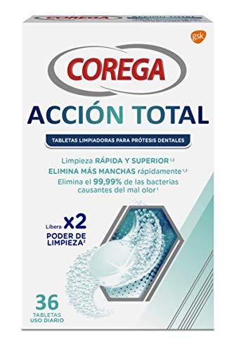 Corega Acción Total Tabletas Limpiadoras para Prótesis Dentales, Férula Dental y Ortodoncia, Uso Diario, 36 Tabletas